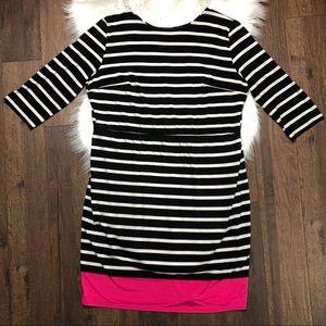 Black White Pink Stripe Dress